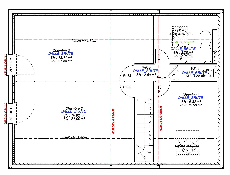 Constructeur maisons individuelles Bayeux-1- CESAR 4CH+GI 100 M² Etage
