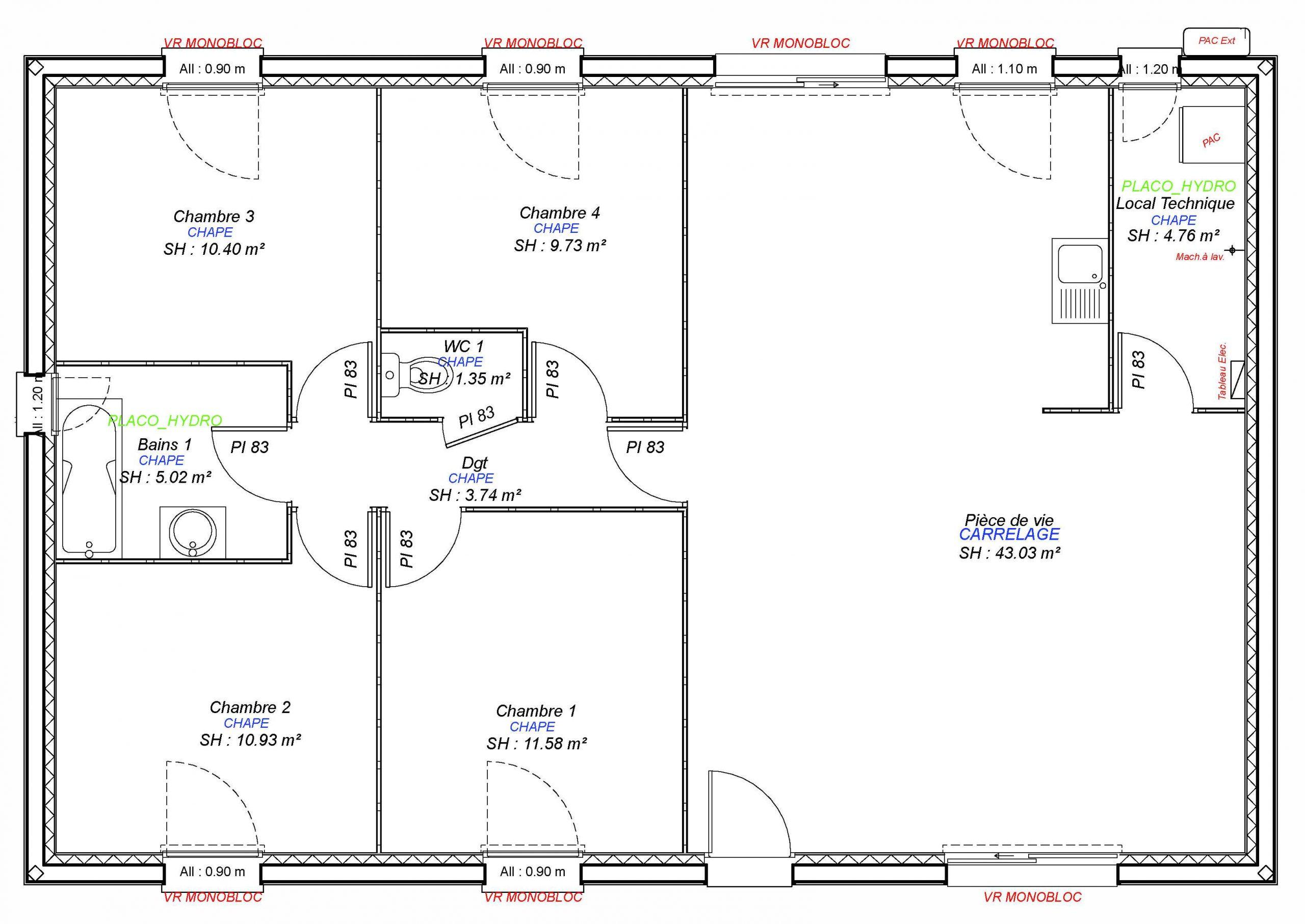 Constructeur maisons individuelles Bayeux-LAURE 4CH 100 M²