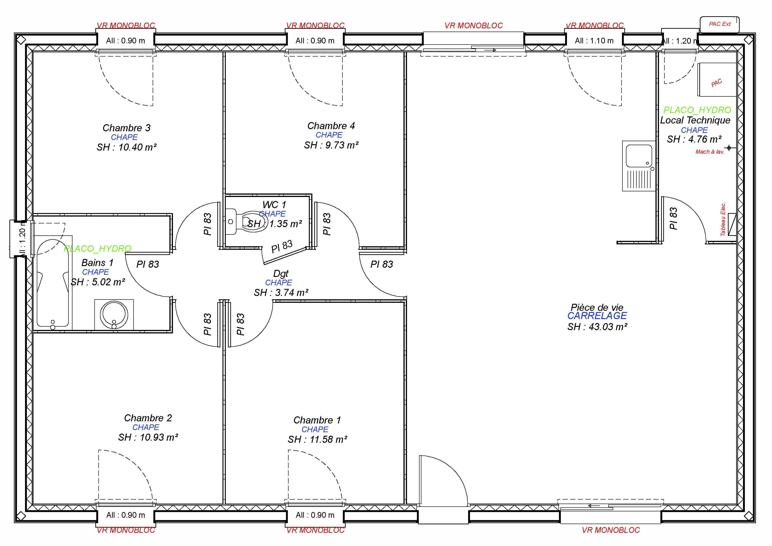 Plan Maison 90 M2 Moderne Bioclimatique Maisons Bebium 2