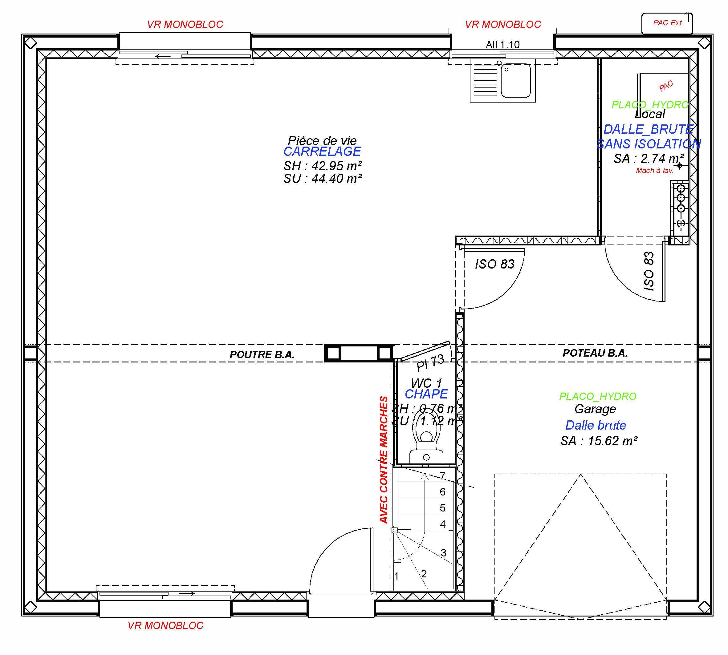 Constructeur maisons individuelles Caen-1- CESAR 3CH+GI 85 M² RDC