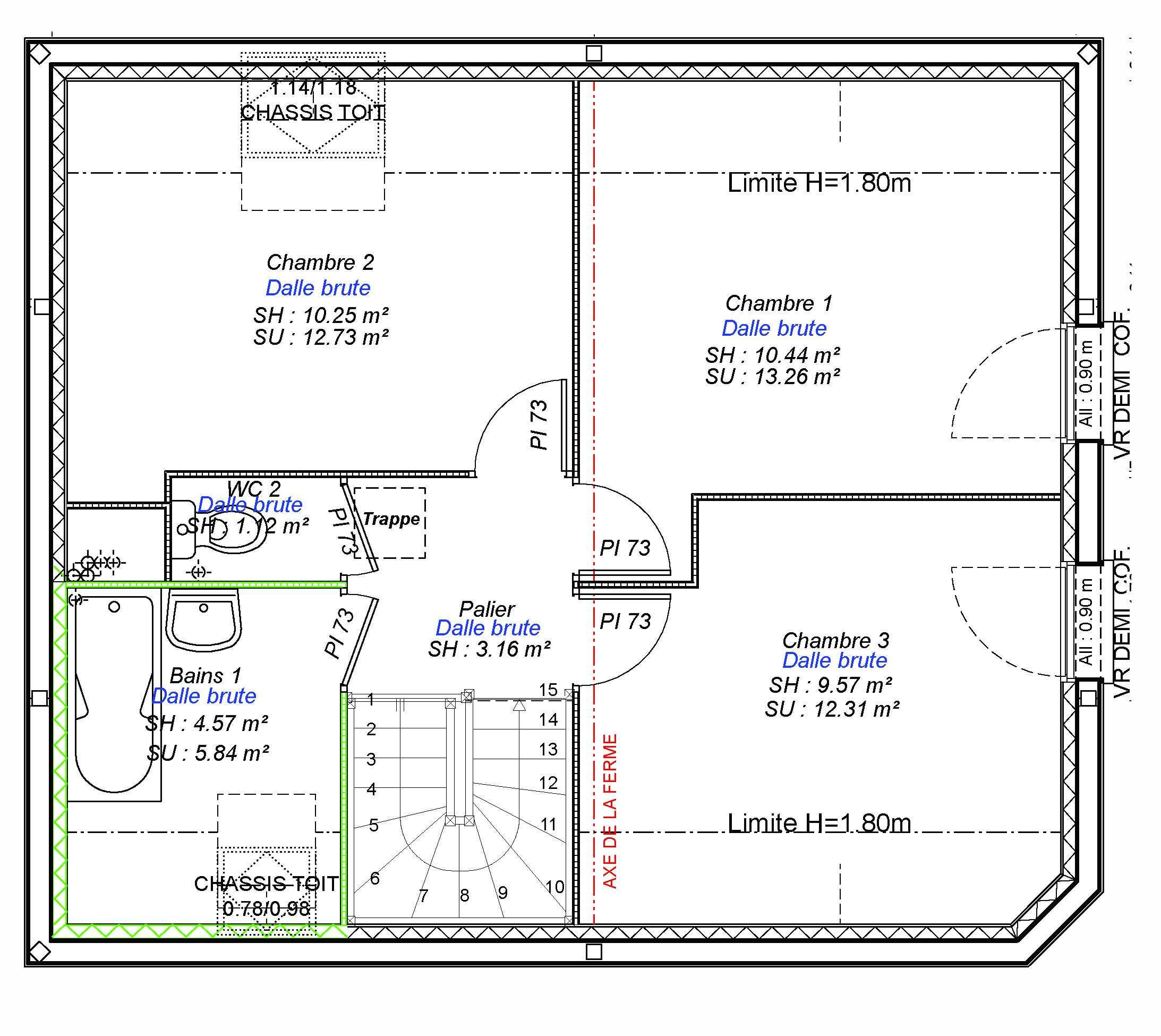Constructeur maisons individuelles Caen-FAMILY-AXCESS 3CH 89 M²- etage