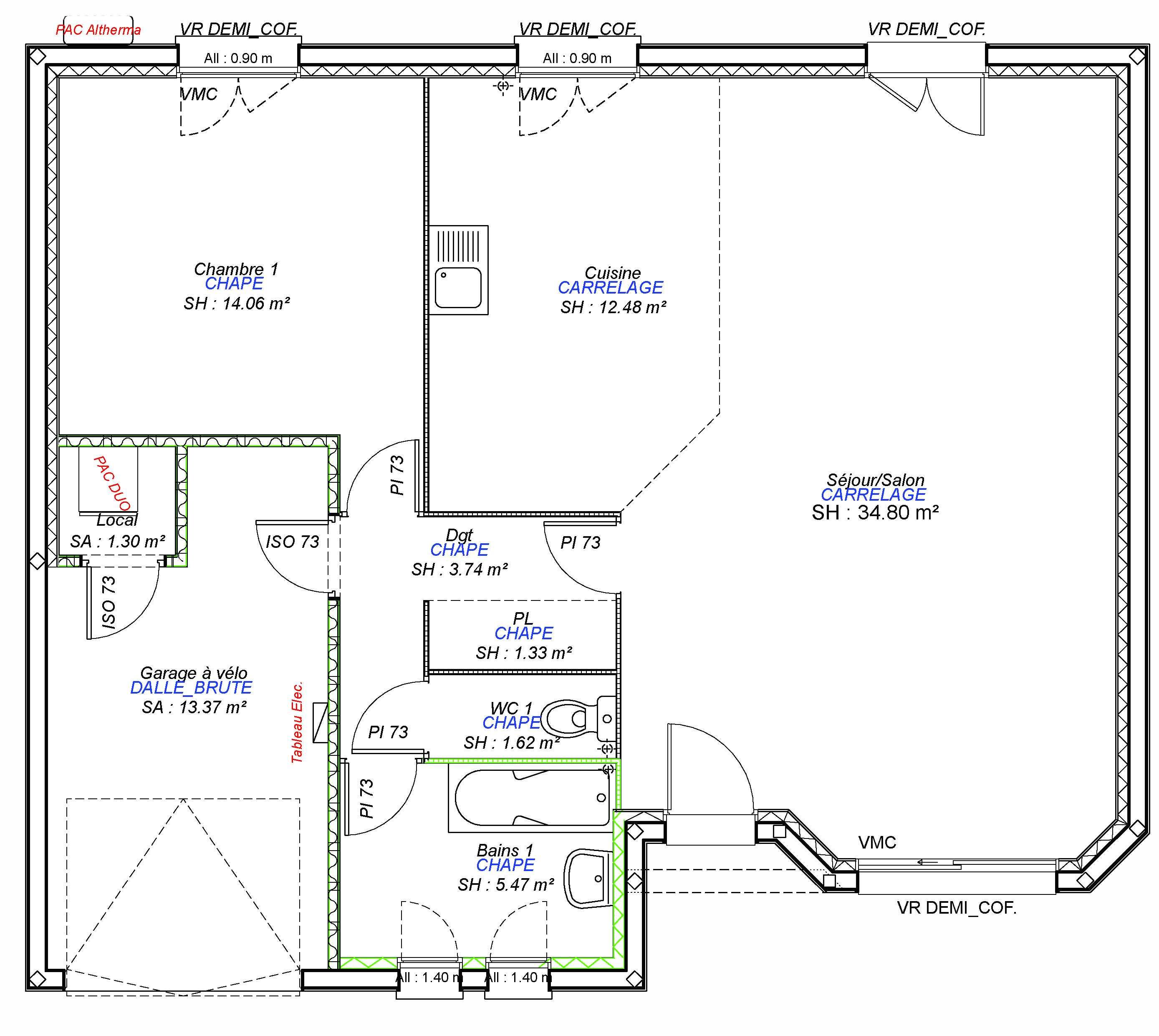 Constructeur maisons individuelles Caen-LOUNGE-AXCESS 1CH+GI 73 M²-3
