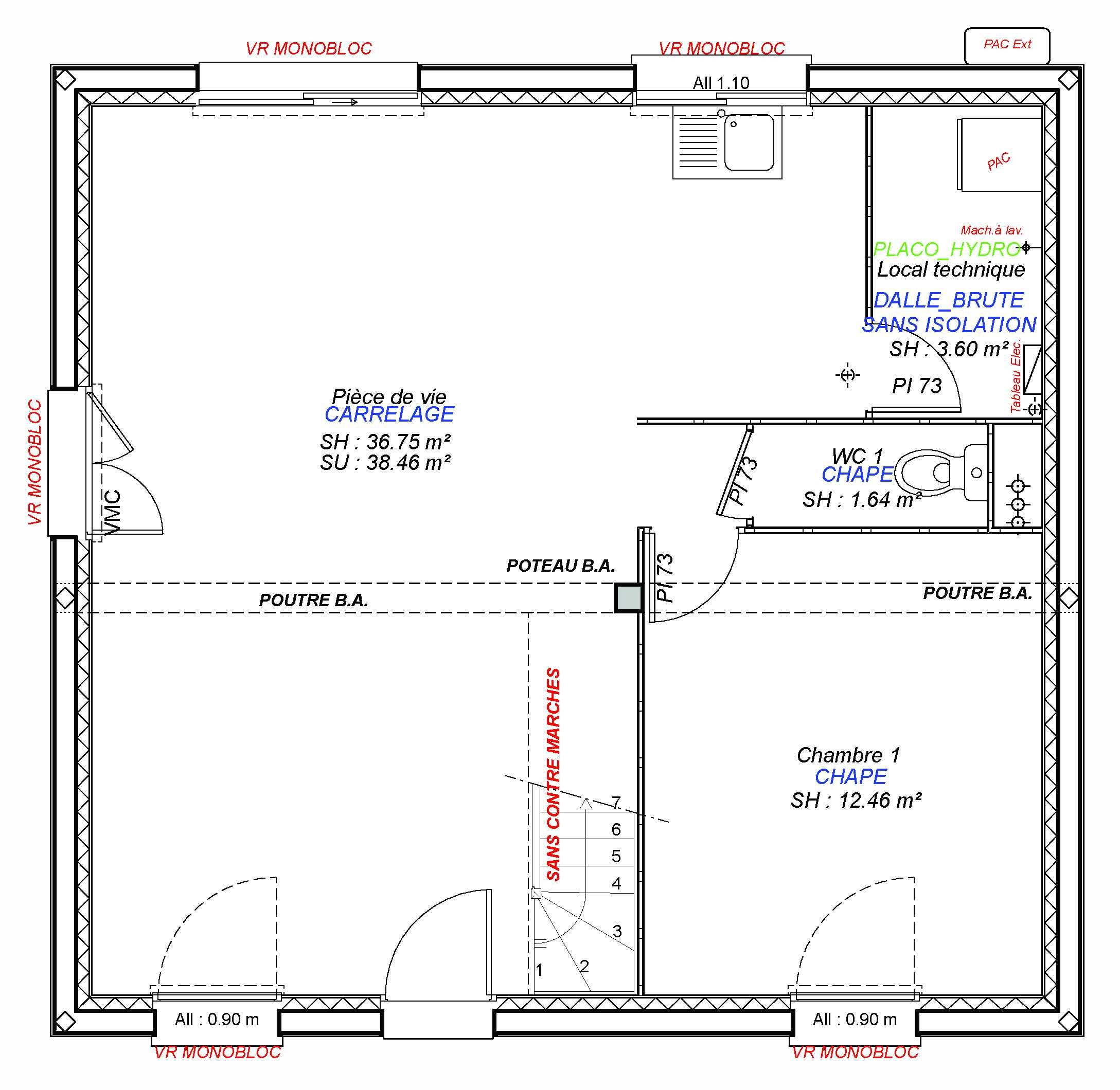 Constructeur maisons individuelles Caen-MARGOT 90 M² rdc