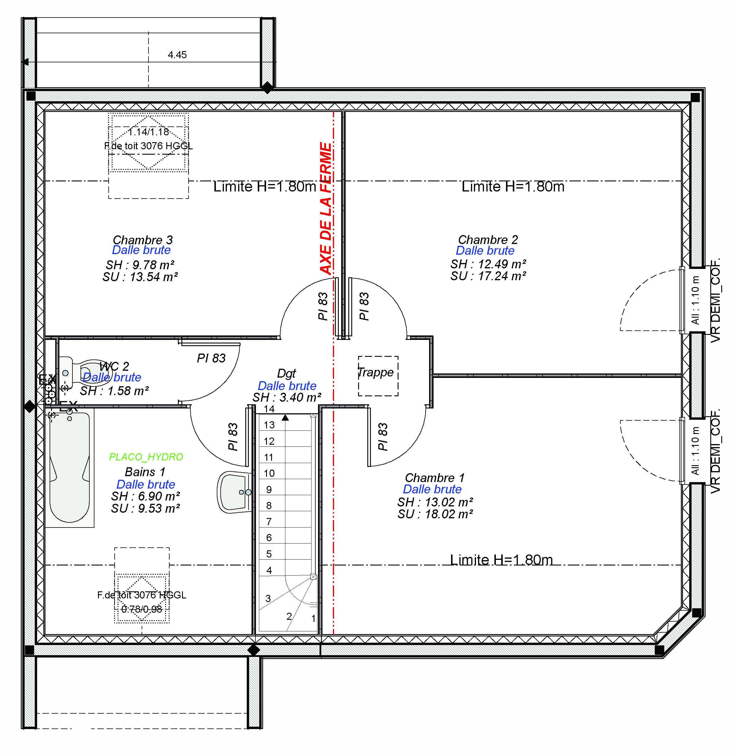 Constructeur maisons individuelles Caen-WELCOME-AXCESS 4CH+GI 103 M² (1)- étage