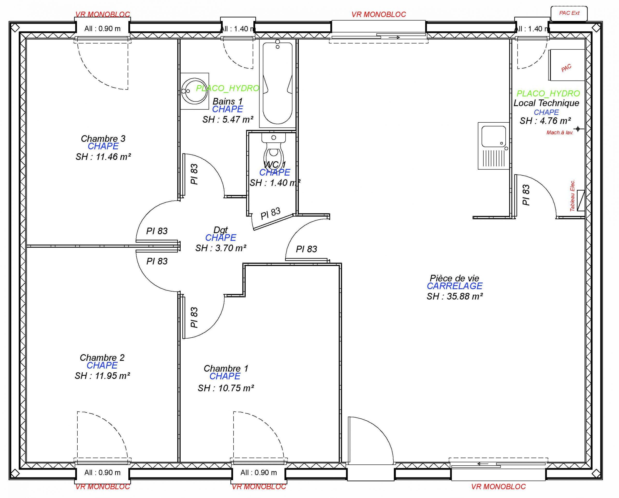 Constructeur maisons individuelles Lisieux-1- LAURE 3CH 85 M²