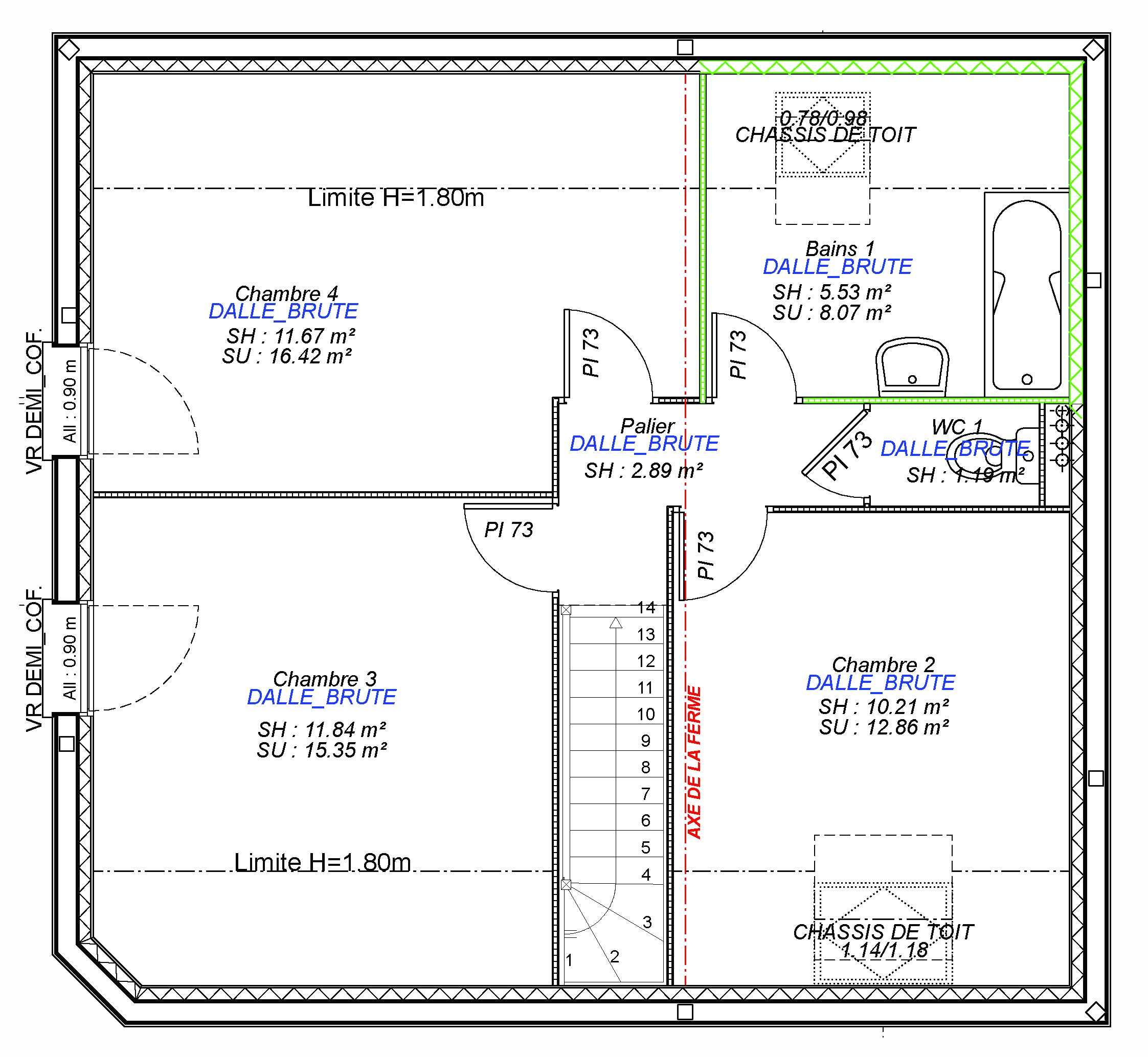 Constructeur maisons individuelles Lisieux-2FAMILY-AXCESS 4CH 101 M²- étage