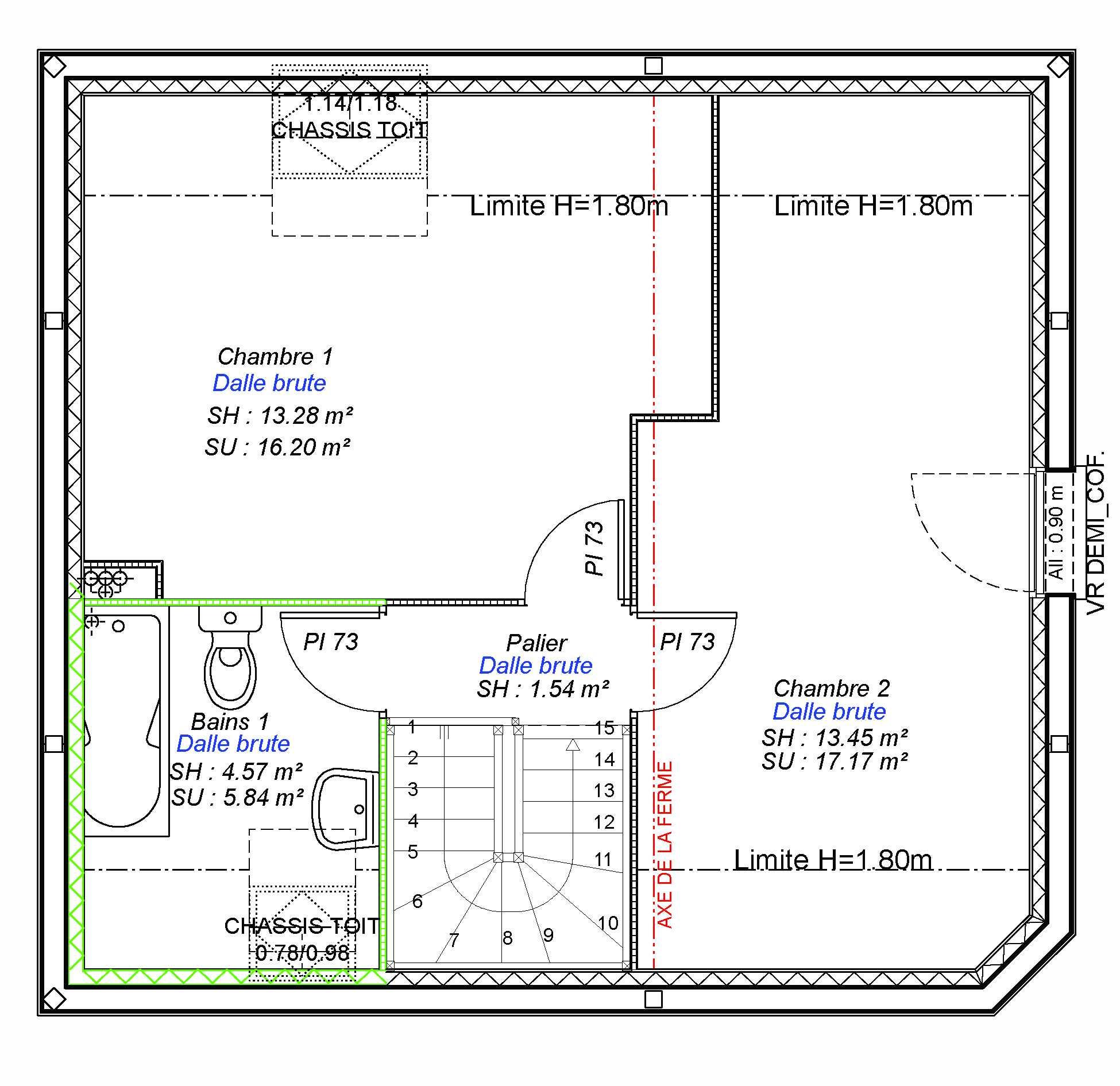 Constructeur maisons individuelles Lisieux-FAMILY-AXCESS 2CH 74 M²- etage