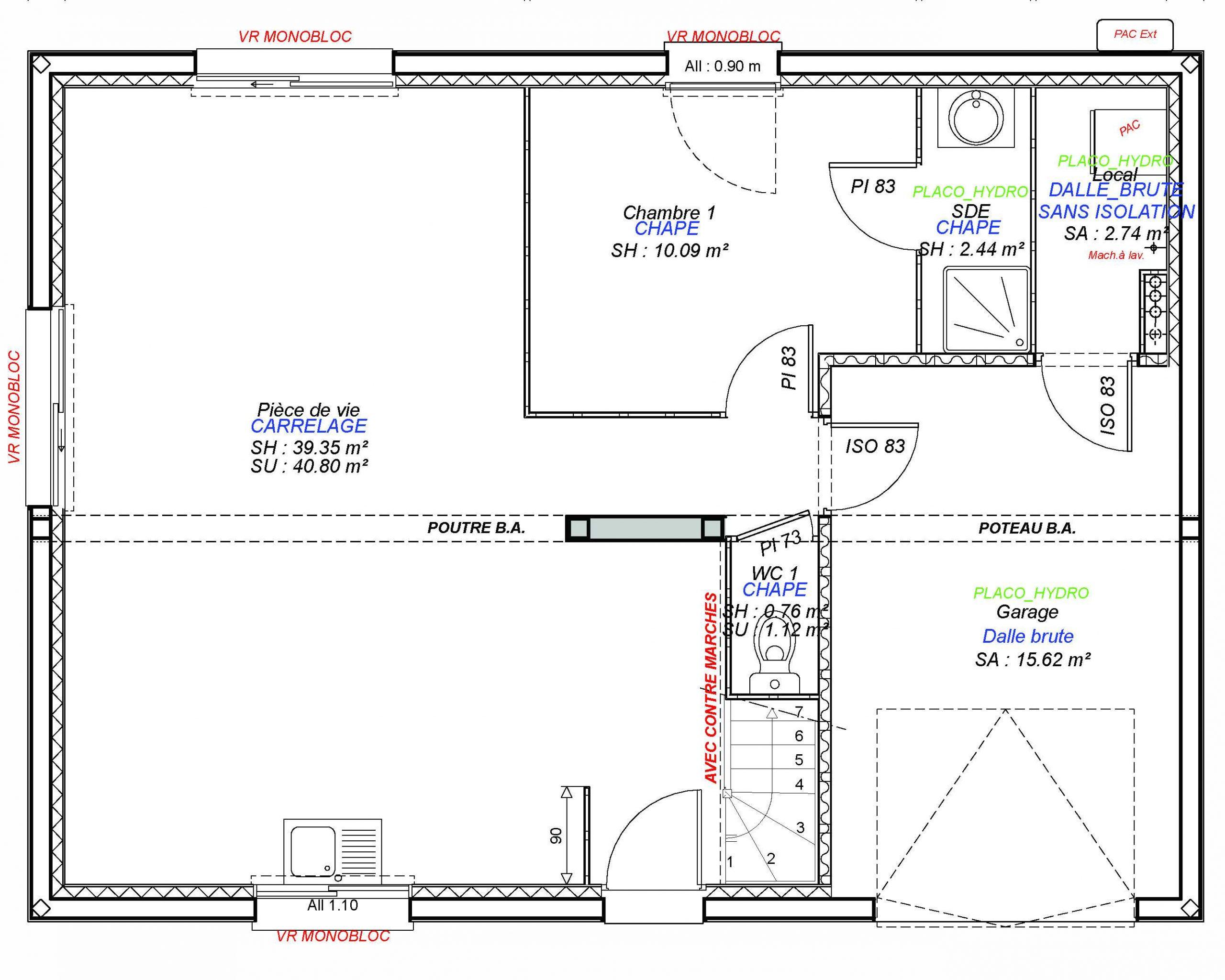 Construction maisons individuelles Bayeux-1- CESAR 4CH+GI 100 M² RDC