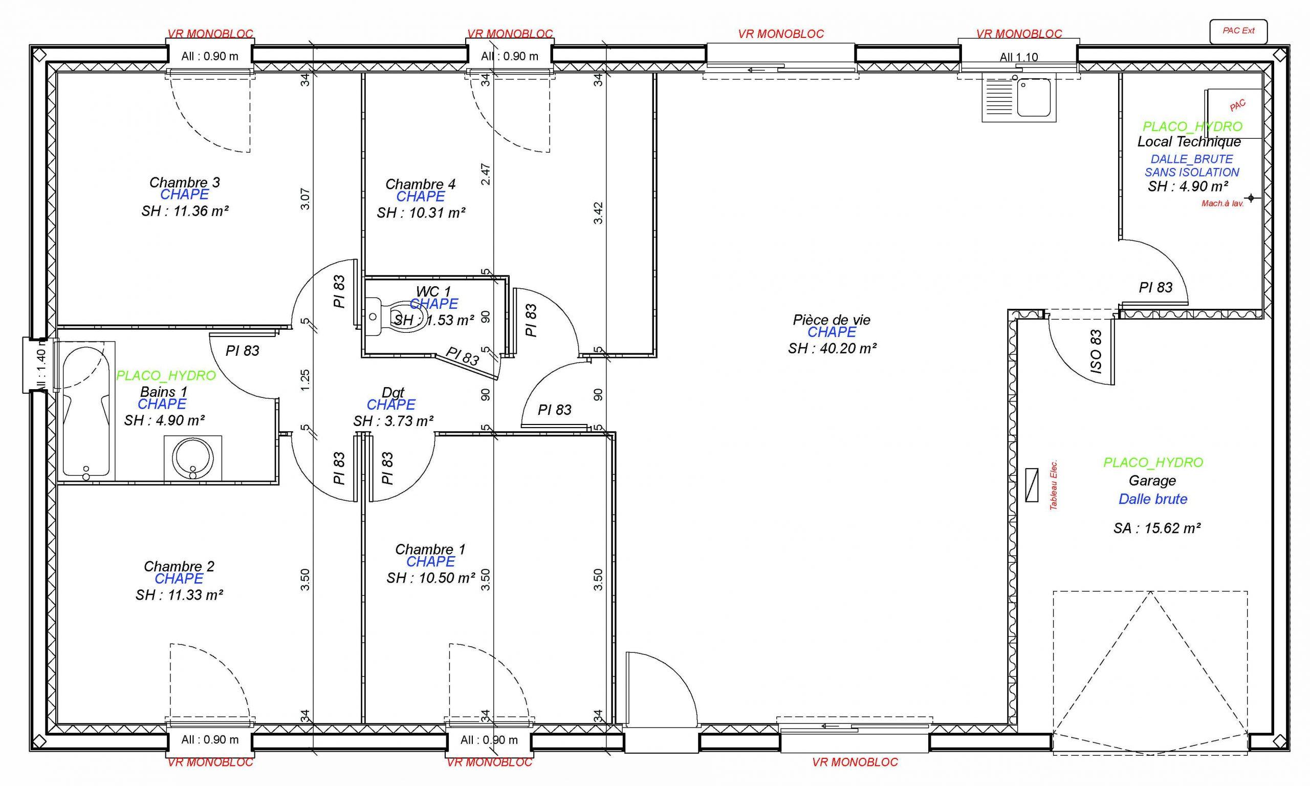 Construction maisons individuelles Bayeux-JADE 4CH+GI 98 M²
