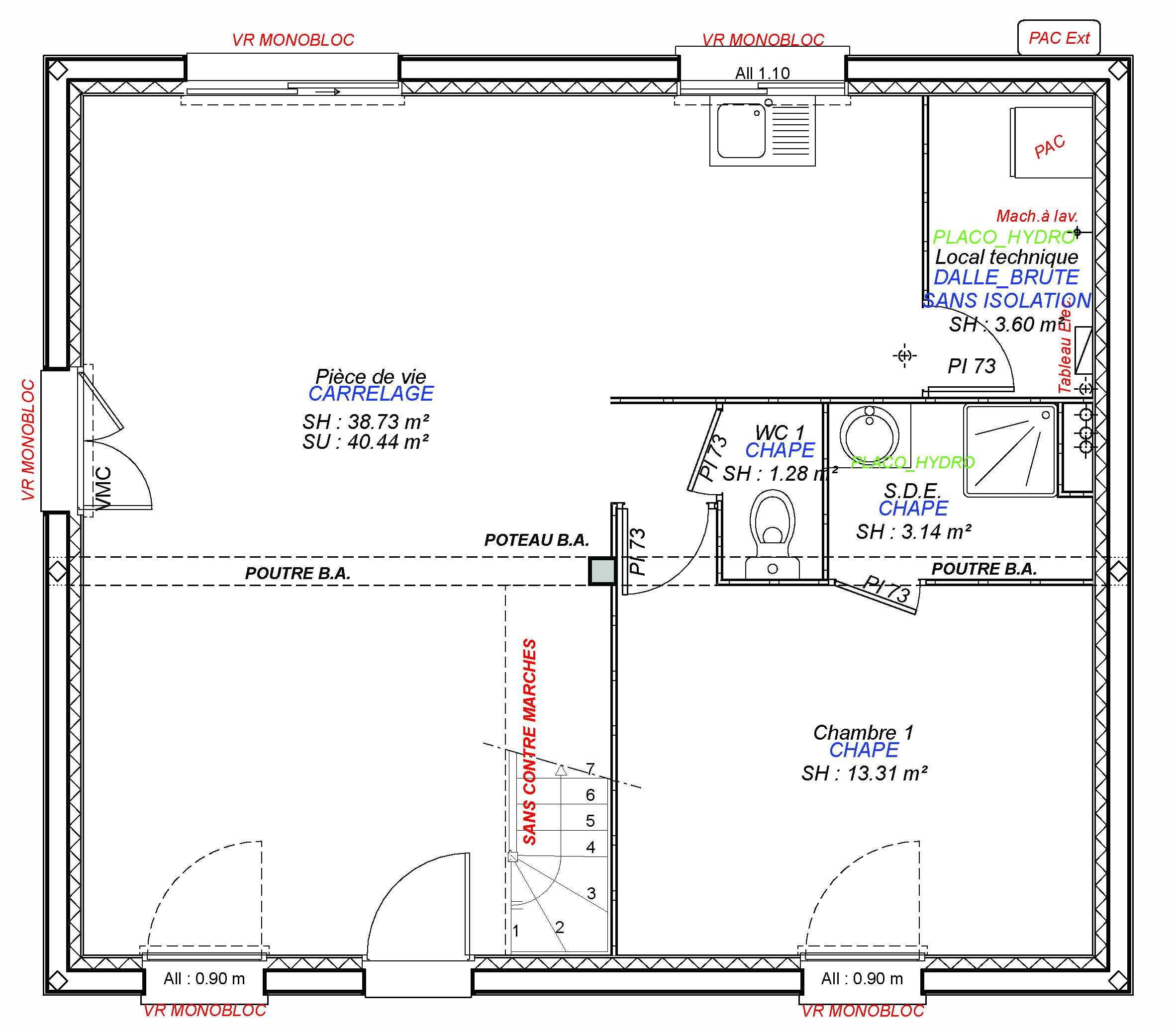 Construction maisons individuelles Bayeux-MARGOT 100 M² RDC