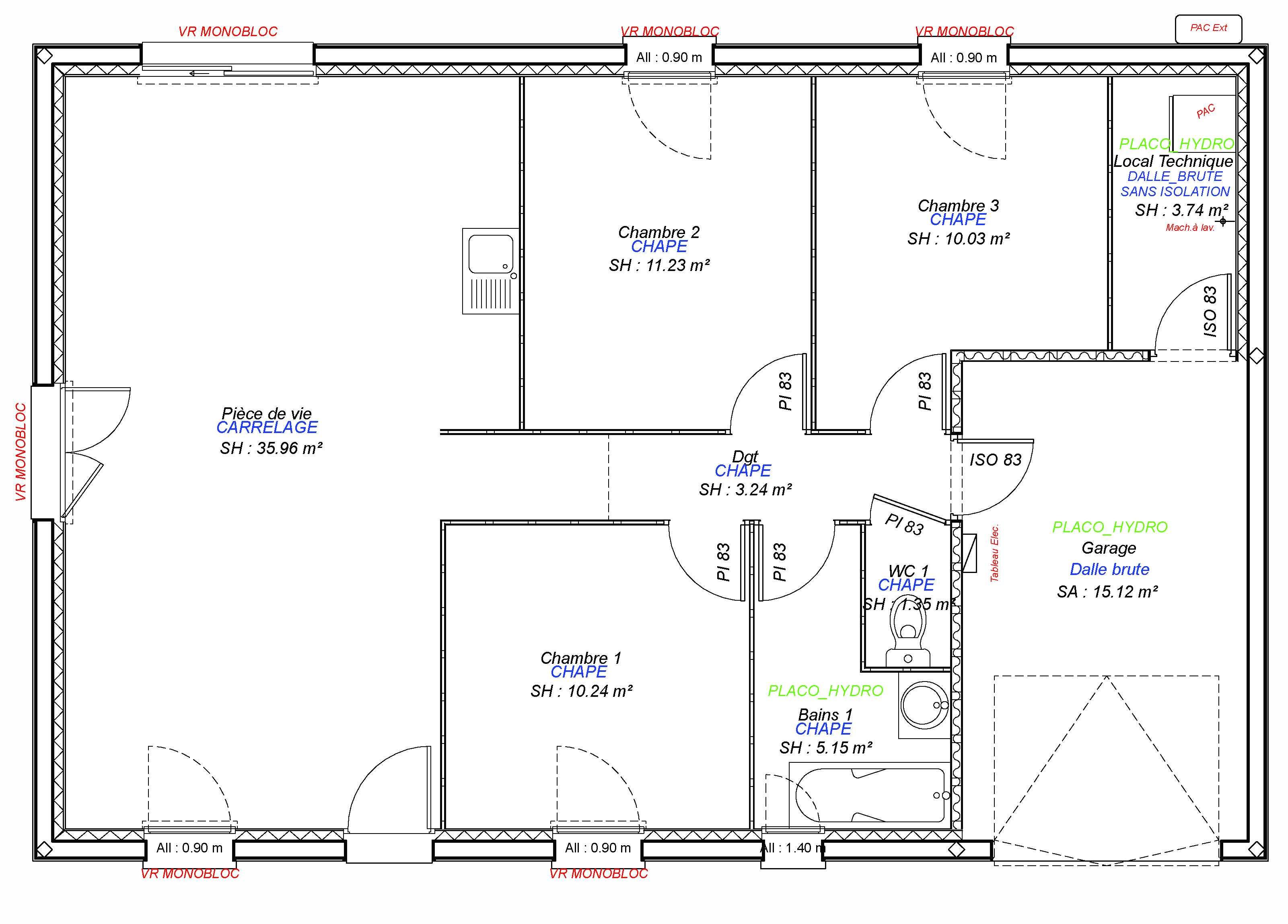 Construction maisons individuelles Caen-JADE 3CH+GI 80 M²