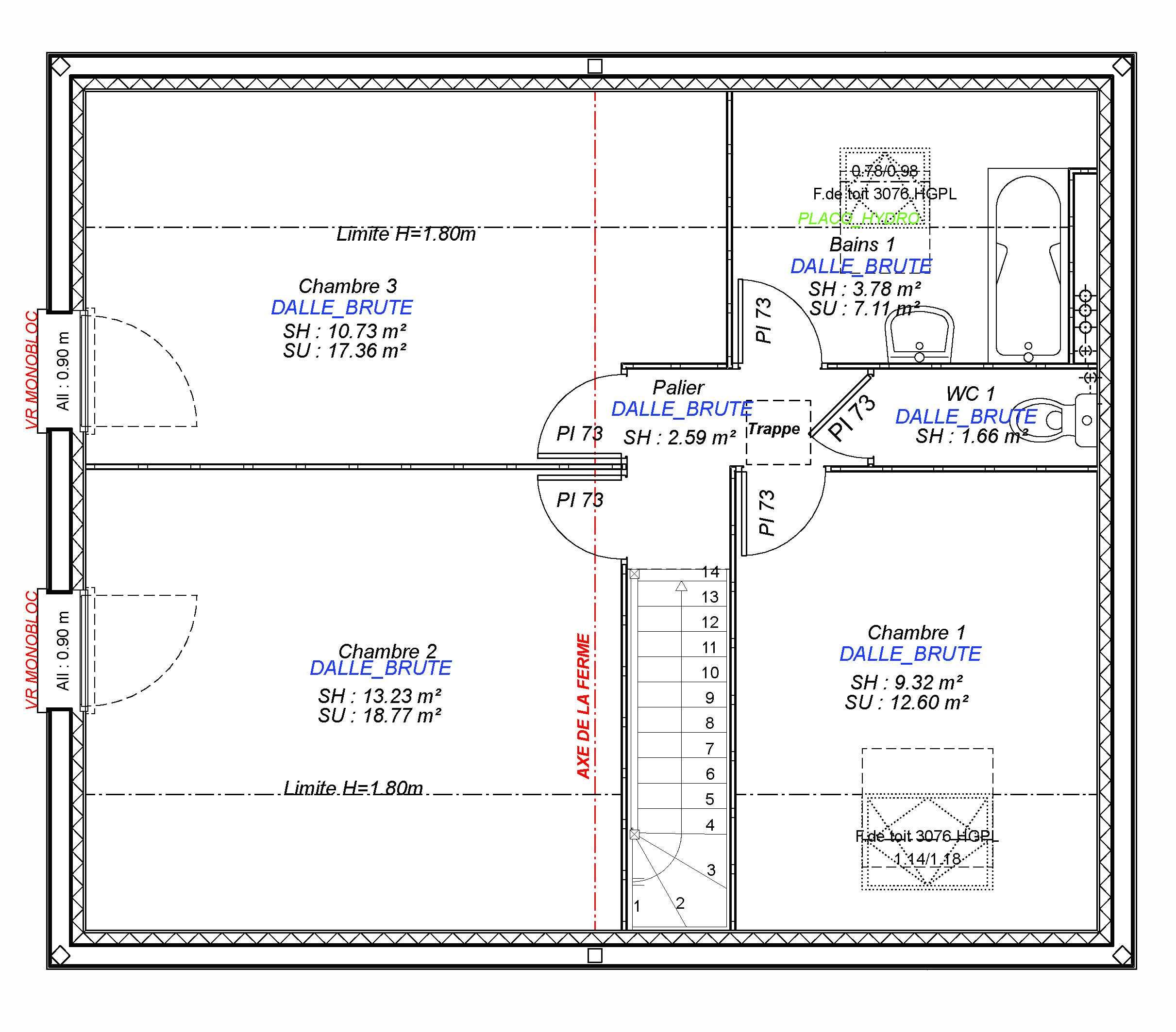 Construction maisons individuelles Lisieux-1- CESAR 3CH+GI 85 M² etage