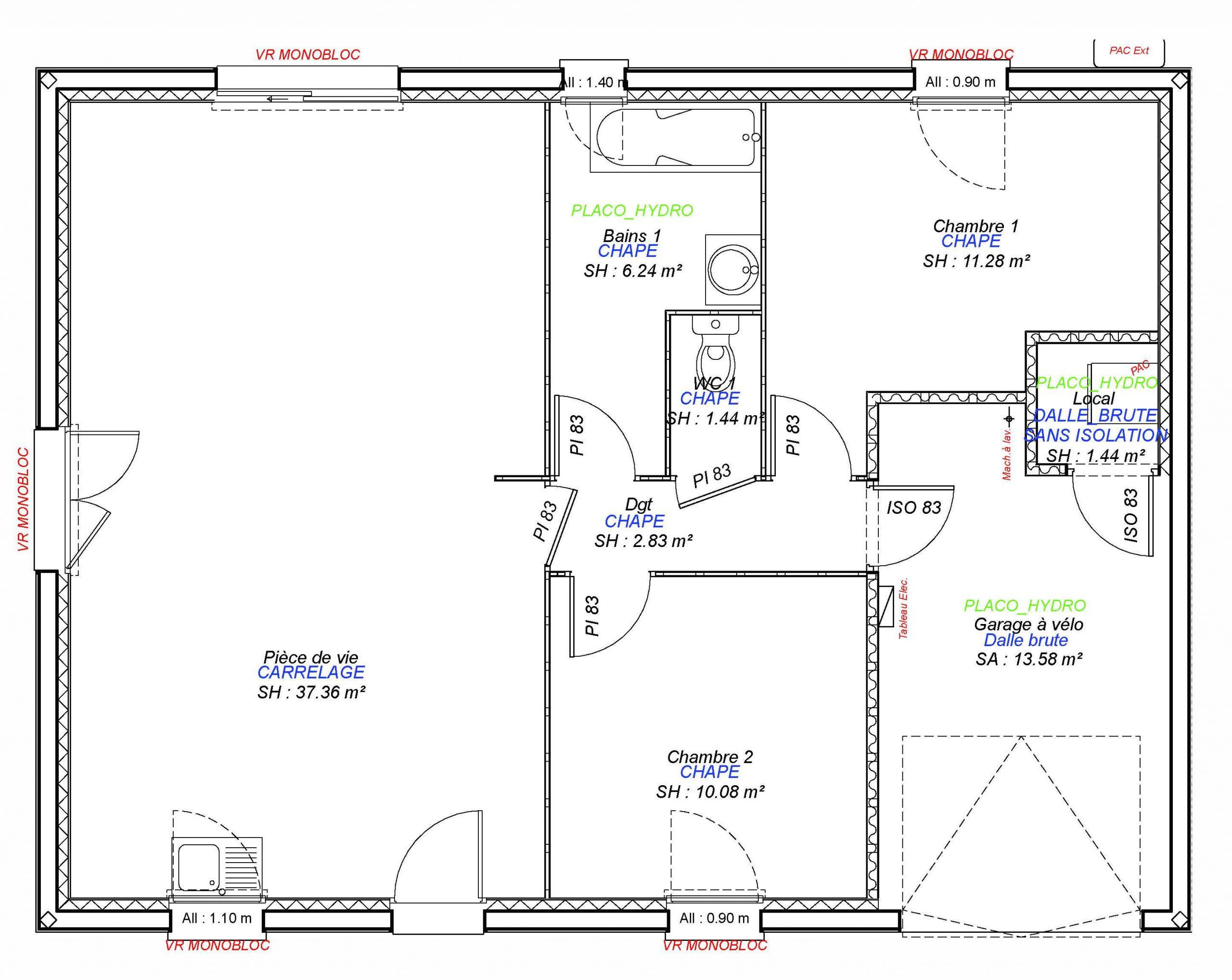 Construction maisons individuelles Lisieux-JADE 2CH+GI 70 M²