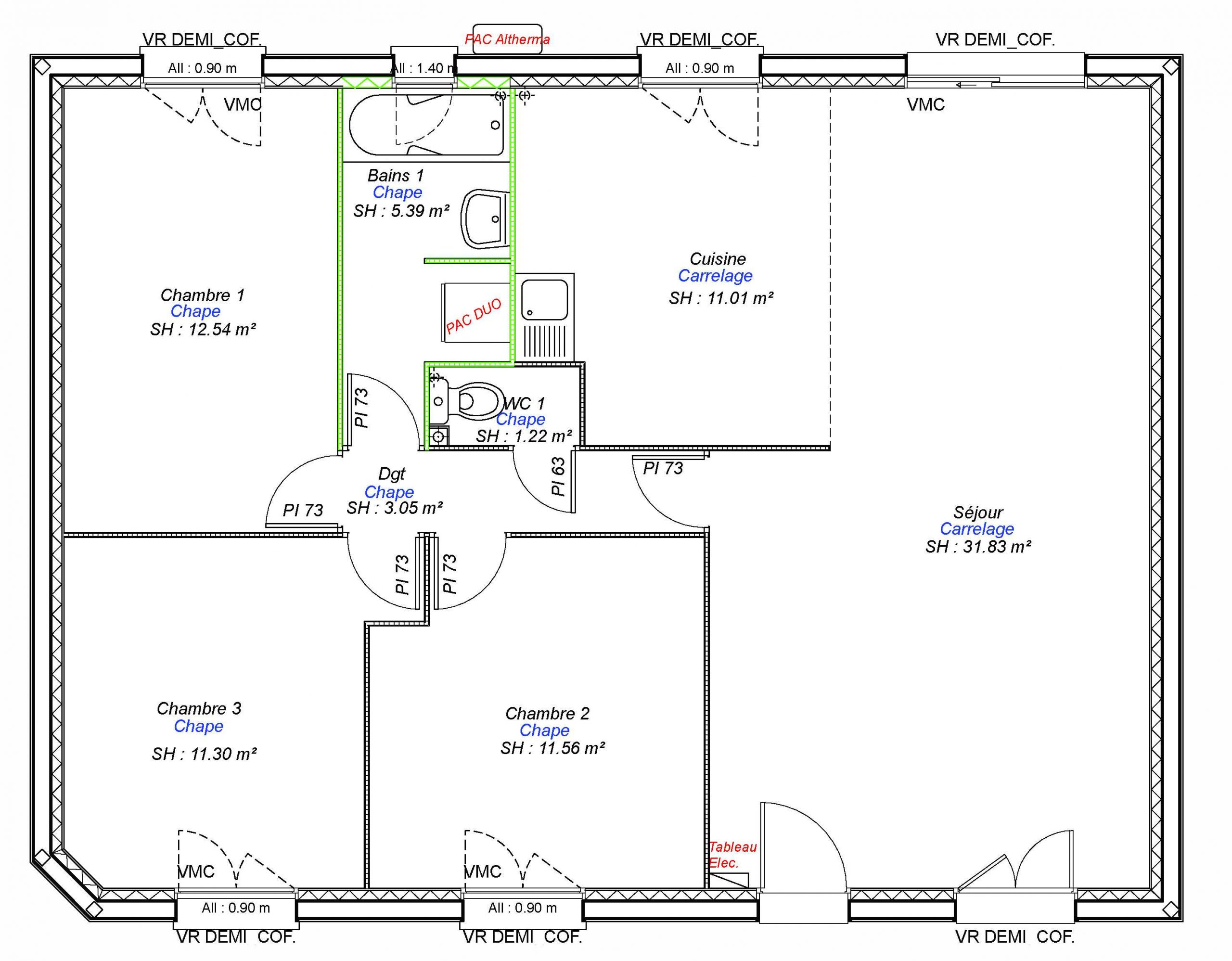 Construction maisons individuelles Lisieux-ONE-AXCESS 3CH 87 M²-3