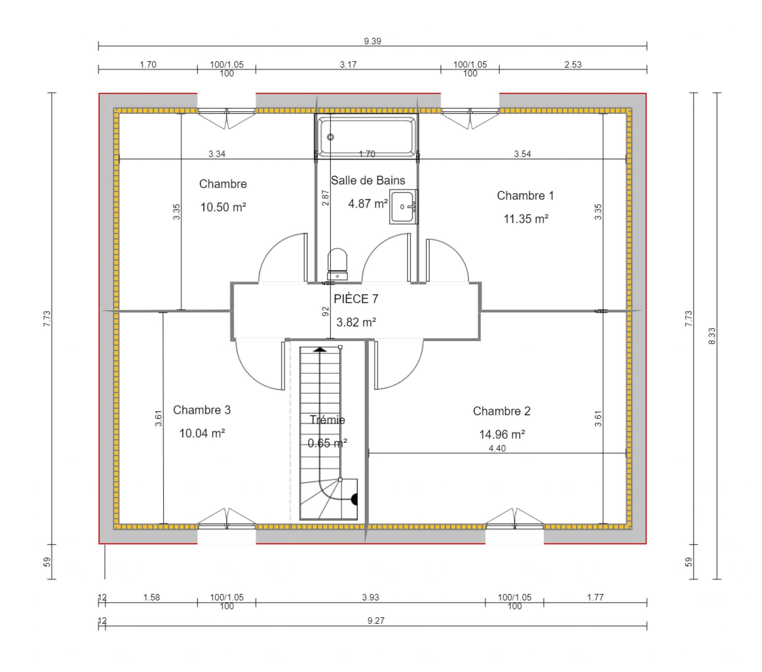 construction-maisons-individuelles-bayeux-Léna-4ch-100m²-plan-1er etage