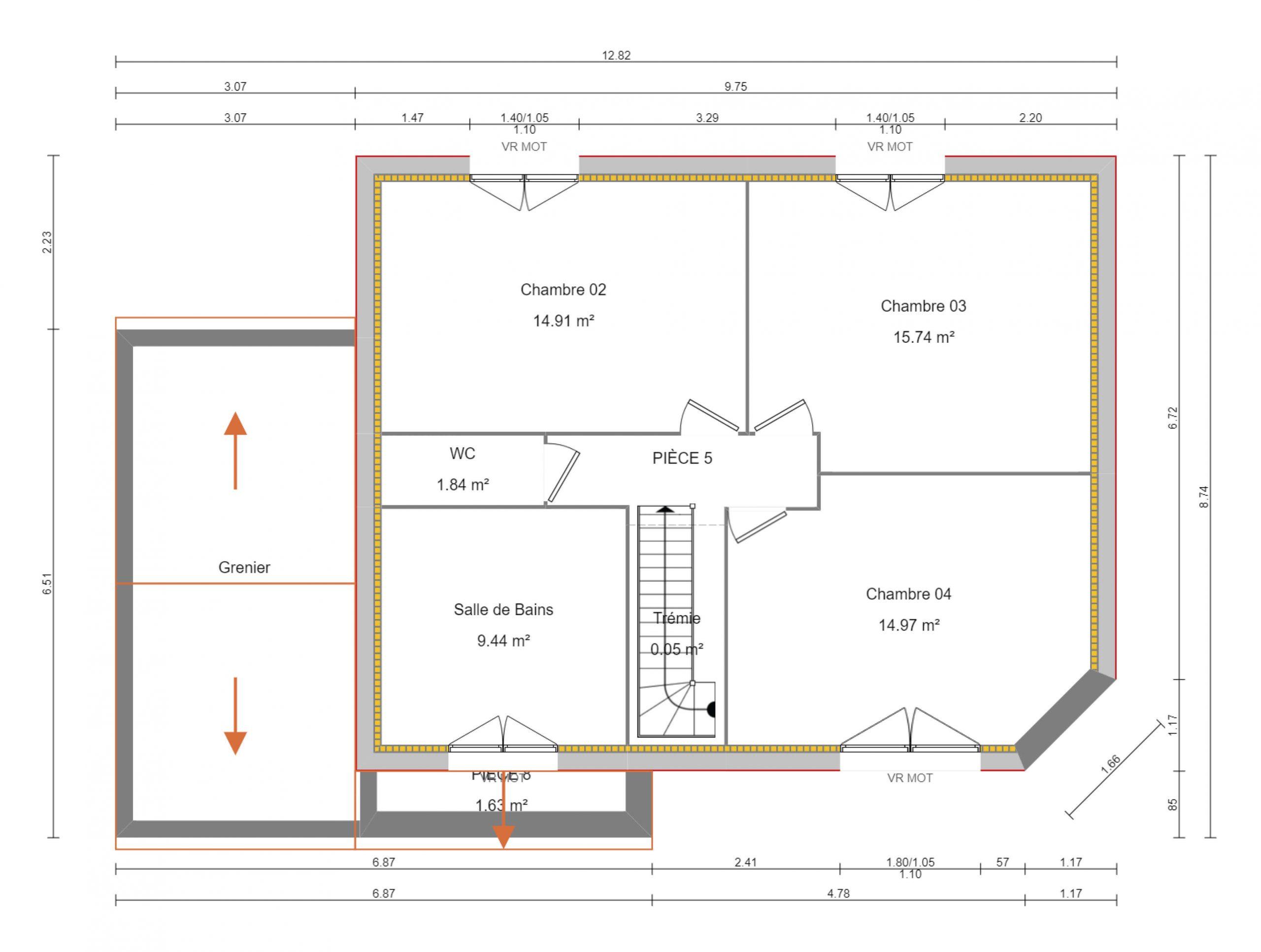 construction-maisons-individuelles-caen-reine-4chambres-125m²-plan-1er etage
